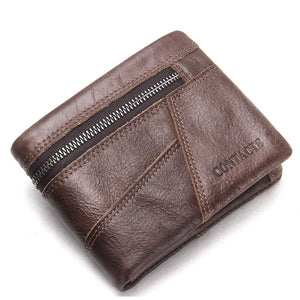 Genuine Leather Patchwork Zippeered Men's Wallets