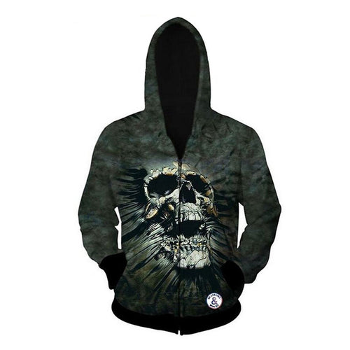 Loose Skull Hit Color Pocket Polyester Men's Hoodies