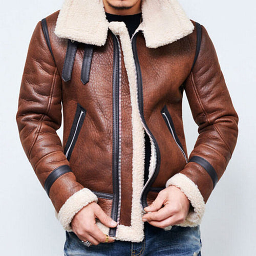 Cropped Collar Zip Lapels Men's Leather Coat