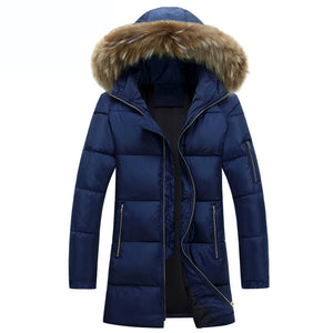 Brief Extra Heat Fur Collar Men's Parka Jacket
