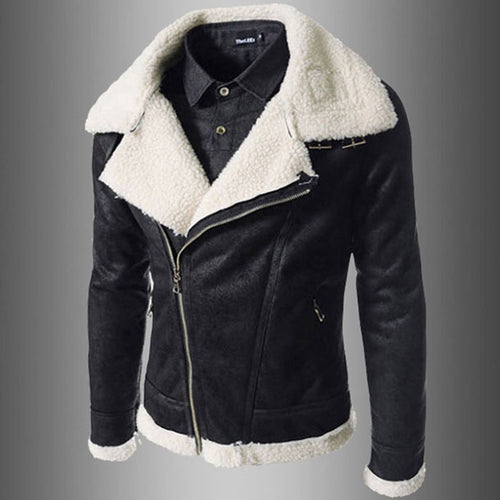 Lapel Asymmetric Zipper Cashmere Men's Leather Coat