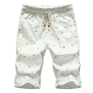 Fish Bone Print Men's Casual Shorts