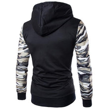 Camouflage Color Block Patchwork Casual Men's Hoodie