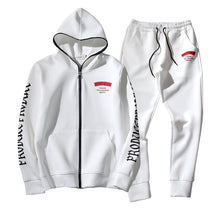 Letter Pocket Hooded Sports Simple Men's Suit