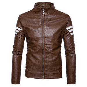 Plain Stripe Stand Collar PU Pattern Men's Leather Coat