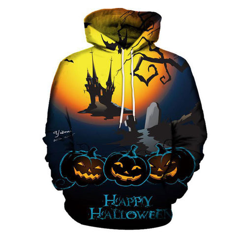 Long Sleeve Halloween Print Pumpkin Lace Up Men's Hoodies