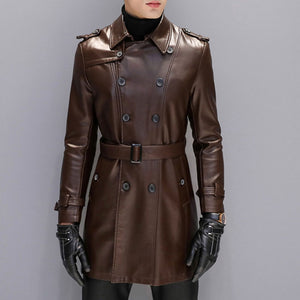 PU Casual Lapel Plain Polyester Men's Leather Coat