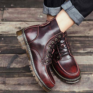 Anti-Slip Brief Wear Resistant Men's Leather Boots