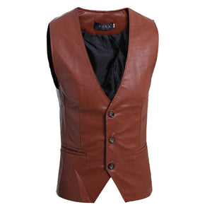 Brief Single-Breasted PU Men's Vest Jacket