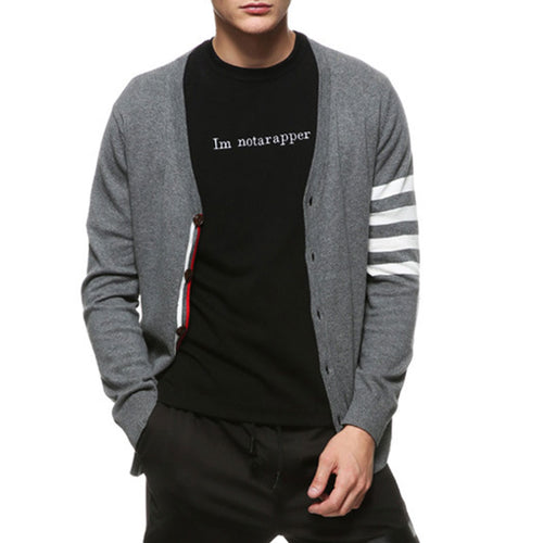 Pure Color Striped Single-Breasted Men's Sweater