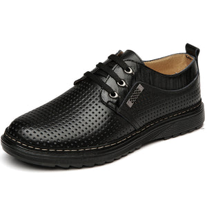 Hollow Round Toe  Leather Casual Shoes
