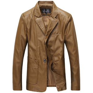 Pure Color Notched Neck Men's Leather Coat