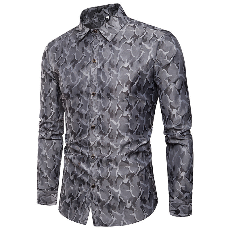 Camouflage Lapel Casual Korean Men's Shirt