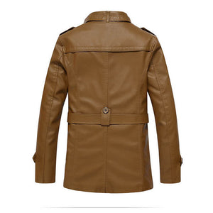 Belt Stand Collar PU Plain Zippered Thicken Men's Leather Coat