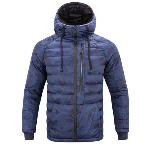 Camouflage Hooded Zip-up Long Sleeve Men's Coat