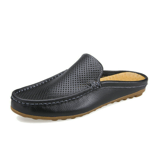 Men's Breathable Leather Slippers