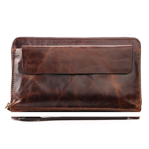 Genuine Leather Plain Zippered Men's Wallets