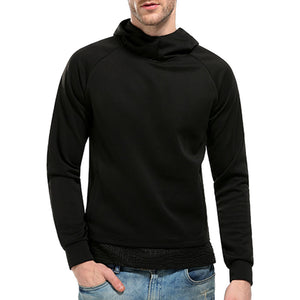 High Neck Collar Pullover Pure Color Men's Hoodie