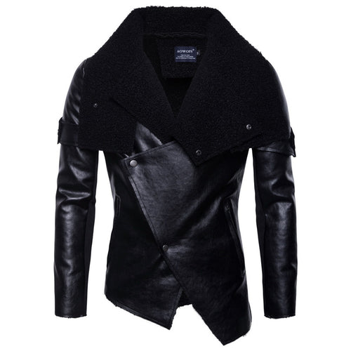 Lapel Regular Staggered Buttons Men's Leather Coat