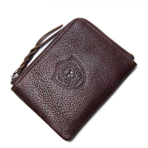 Coin Purse Genuine Leather Zippered Men's Wallets