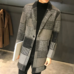 Lattice Pattern Lapel Thickened Single-Breasted Men's Trench Coat