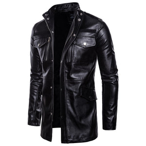 Stand Collar Long Sleeve PU Men's Leather Coat