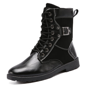 High Barrel Martin Stitching Leather Men's Boots