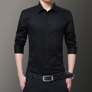 Pure Color Brief Casual Turn-down Collar Men's Shirt