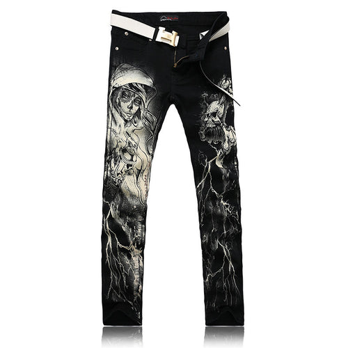 Cartoon Zipper Cotton Print Casual Men's Jeans