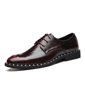 Crocodile Pattern Waterproof Low Heel Men's Oxfords