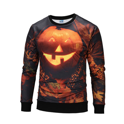 Pumpkin Color-blocked Round Neck Men's Sweatshirt