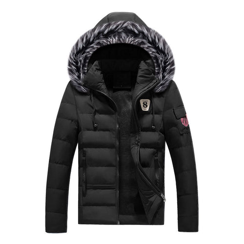 Zipper Casual Plain Cotton Men's Down Coat