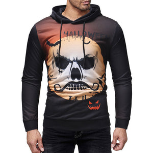 Plus Size Pattern Skull Casual Pullover Men's Hoodies