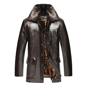Turn-down Collar Plus Size Button Polyester Men's Leather Coat
