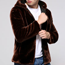 Mink Imitation Mink Hair Hooded Thickened Men's Coat