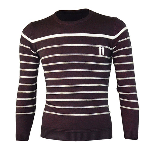 Plus Size Striped Round Neck Jacquard Men's Sweater