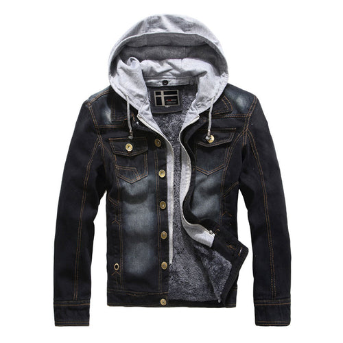 Thicken Button Long Sleeve With Velvet Men's Jackets Coat