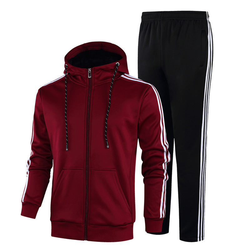 Hat-tied Leisure Zipper Men's Sports Suit