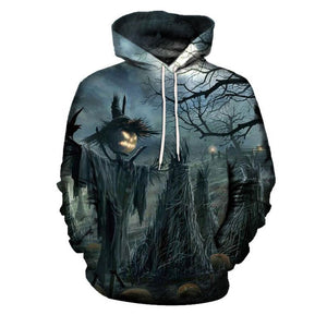 Geometric Cotton Blends Printing Scarecrow Men's Hoodies