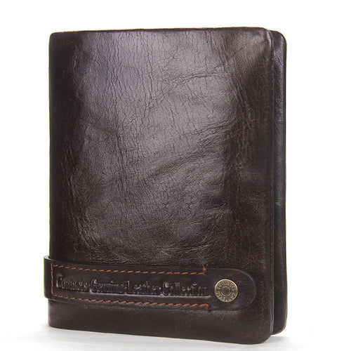 Leisure  Genuine Leather Magnetic Buckle Men's Wallets