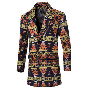 Printing Bohemian Single-Breasted Warm Men's Trench Coat