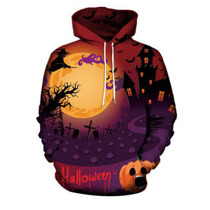 Pumpkin Contrast Color Pullover Hooded Men's Hoodies