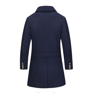 Asymmetric Turn-down Collar Thickened Wool Blends Men's Trench Coat