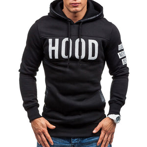 Lace Up With Velvet Hooded Pullover Solid Color Letter Men's Hoodies