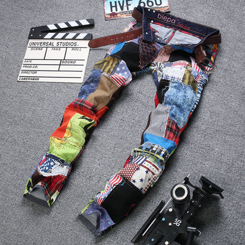 Hit Color Straight Pants Cotton Men's Jeans