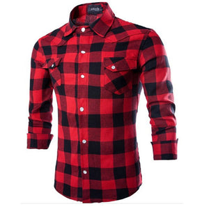 Plaid Pocket Lapel Single-Breasted England Casual Men's Shirt