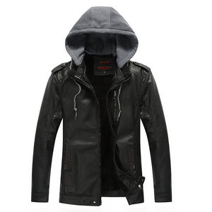 Hooded With Velvet Pu Men's Leather Coat