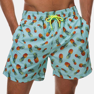 Allover Pineapple Print Drawstring Hawaiian Shorts