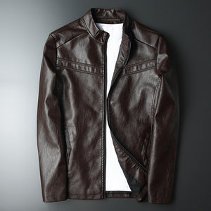 Waterproof Collar Leisure Zipper Men's Pleather Coat