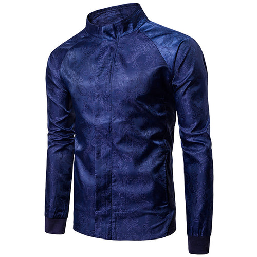 Zippered Cotton Stand Collar Print Men's Jackets Coats